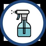 Spray bottle with sanitizer